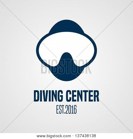 Diving and snorkeling vector logo icon symbol emblem sign. Underwater deep sea diving mask illustration