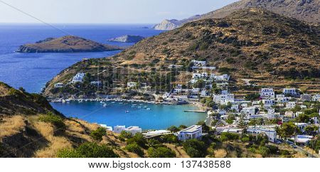 Pictorial view of Kini village and beach in Syros island. Greece