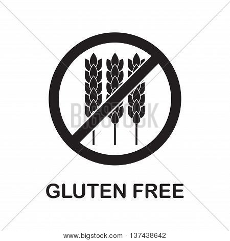 Gluten free sign or label with wheat icon. Infographics element for food packaging. Vector illustration.