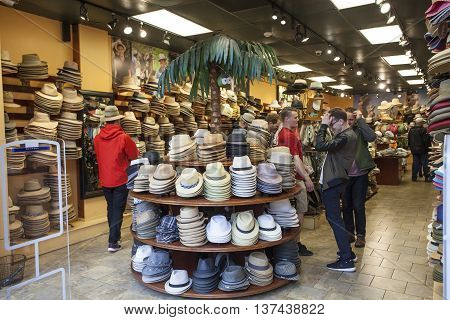 NEW ORLEANS LA USA - APR 16 2016: Interior of a hat shop in the old French Quarter in New Orleans. Louisiana United States