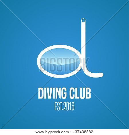 Diving and snorkeling vector logo icon symbol emblem sign design element. Diving tools illustration