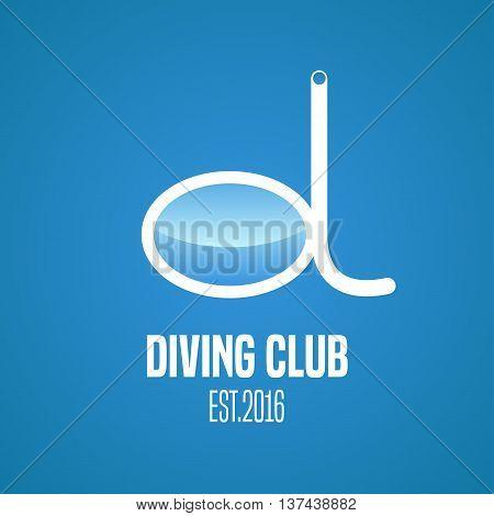 Diving and snorkeling vector logo icon symbol emblem sign design element. Diving tools illustration