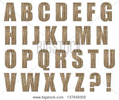 Latin alphabet letters made from palm bark isolated on white background.