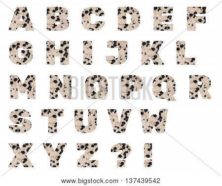 Latin alphabet letters made from mineral porphyry isolated on white background.