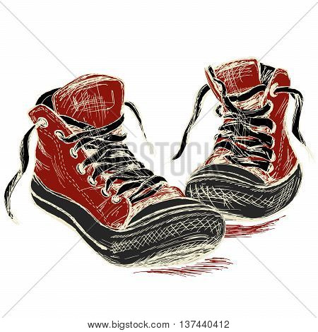 Sneakers isolated on white background hand drawing vector illustration