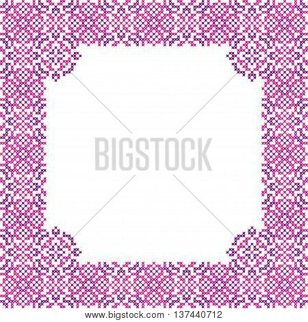 Frame with abstract pink and violet patterns, embroidery