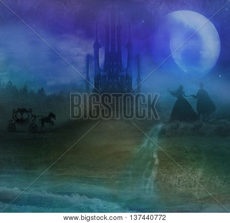 Magic castle and princess with prince at night , raster