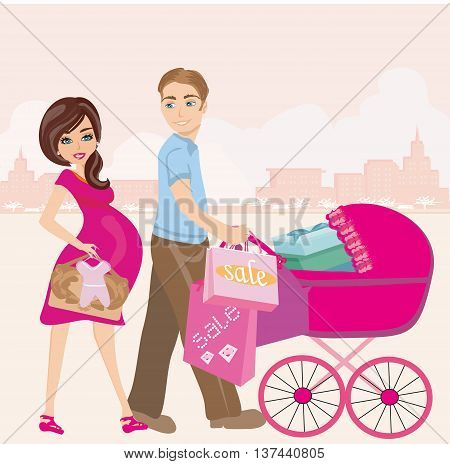 beautiful pregnant woman and her husband on shopping , vector illustration