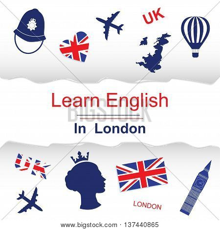Learn english in London poster, banner with icons of England. Vector illustration