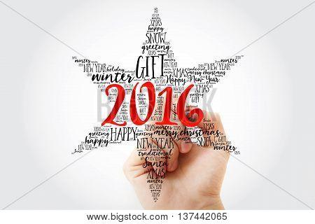 Hand Writing 2016 Happy New Year