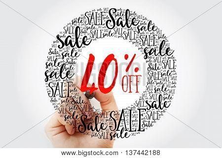 Hand Writing 40% Off Sale Circle Word Cloud