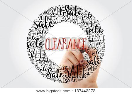 Hand Writing Clearance Circle Word Cloud