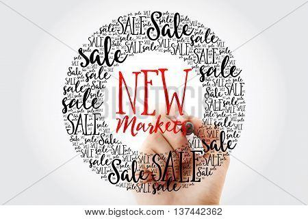 Hand Writing New Markets Circle Word Cloud