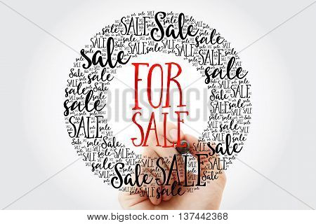 Hand Writing For Sale Circle Word Cloud