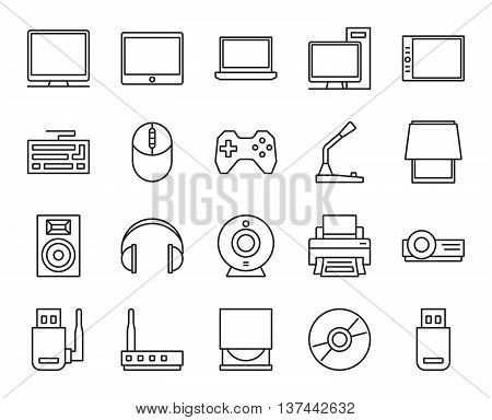 input, output and storage of information. electronic and analog devices. basic set of simple linear icons