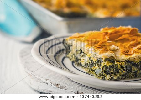 Greek pie spanakopita in the ceramic plate on the white table horizontal