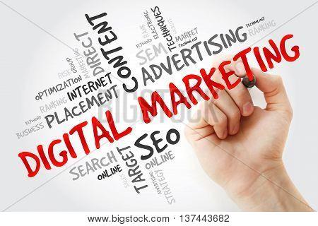 Hand Writing Digital Marketing Word Cloud