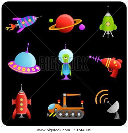 alien cartoons vector set