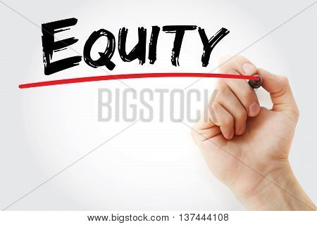 Hand Writing Equity With Marker