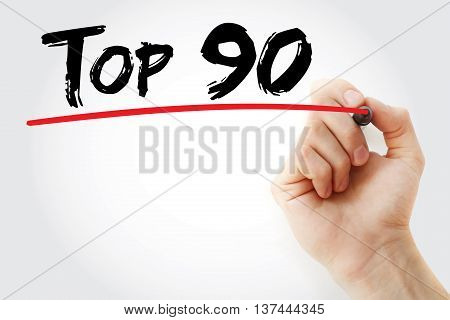 Hand Writing Top 90 With Marker