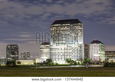 IRVING TX USA - APR 18 2016: Buildings in Las Colinas Irving illuminated at night. Texas United States