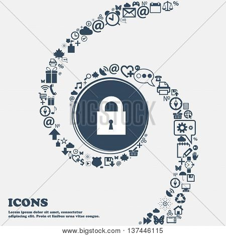 Closed Lock Icon Sign In The Center. Around The Many Beautiful Symbols Twisted In A Spiral. You Can