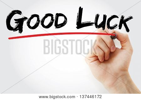 Hand Writing Good Luck With Marker