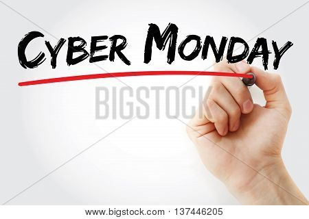 Hand Writing Cyber Monday With Marker