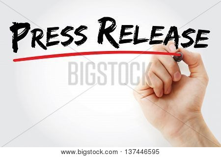 Hand writing Press Release business concept, presentation background