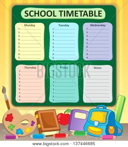 Weekly school timetable topic 6 - eps10 vector illustration.