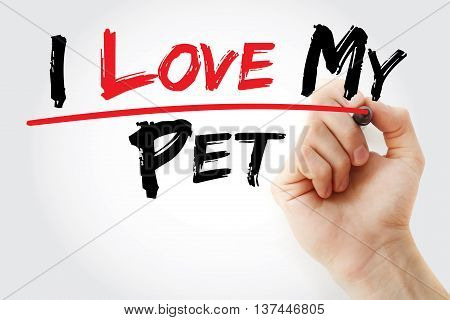 Hand Writing I Love My Pet With Marker