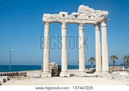 The Temple of Apollo in Side Turkey on sunset