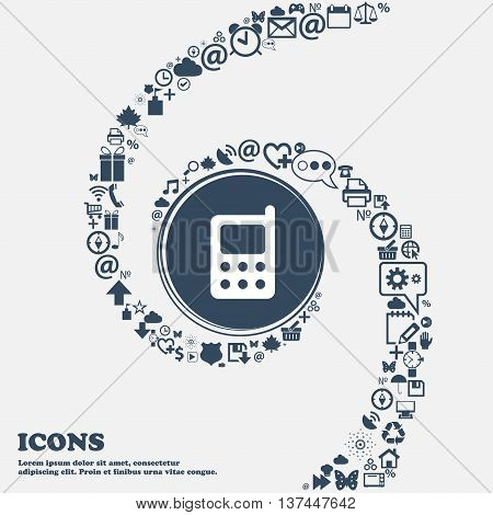 Mobile Phone Icon Sign In The Center. Around The Many Beautiful Symbols Twisted In A Spiral. You Can