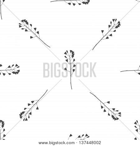 Hand drawn black and white meadow grass seamless pattern