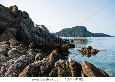 Sea rocks on a beach at summer morning in Sithonia, Greece