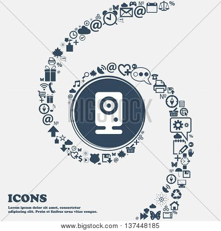 Web Cam Icon Sign In The Center. Around The Many Beautiful Symbols Twisted In A Spiral. You Can Use