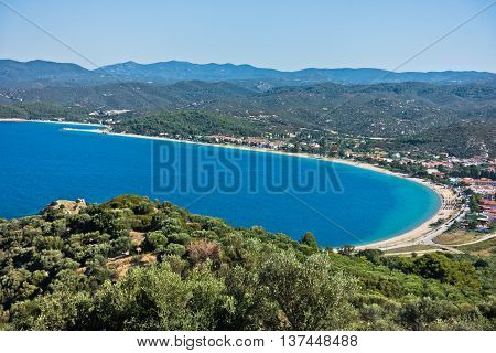 Aerial view of a beach and mediterranean coast in Sithonia, Greece