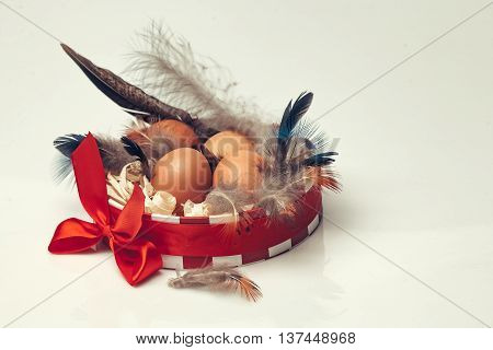 Many brown fresh eggs with black feathers and excelsior in round decorative box decorated by beautiful bright red bow on white background closeup studio