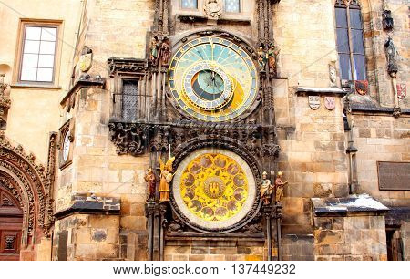 Famous astronomical clock at the Old Town square in Prague Czech Republic Europe