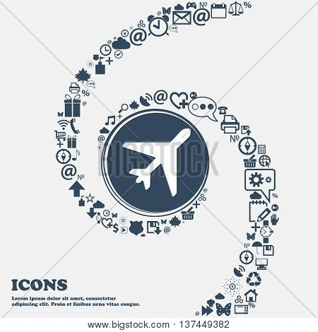 Airplane Icon Sign In The Center. Around The Many Beautiful Symbols Twisted In A Spiral. You Can Use