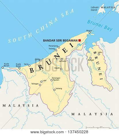 Brunei political map with capital Bandar Seri Begawan, national borders, cities and rivers. Sovereign state on the north coast of Borneo, Malaysia in Southeast Asia. English labeling. Illustration.