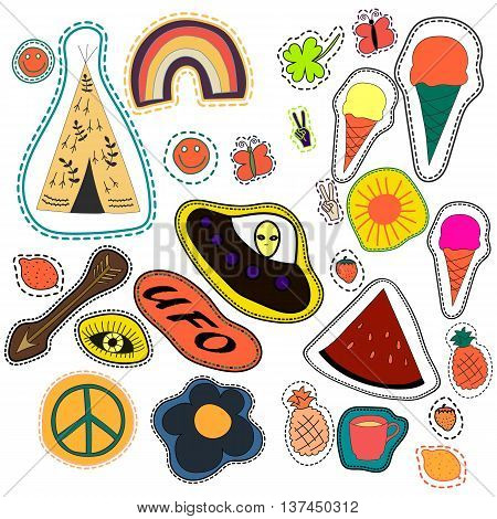 hippie embroidery hand drawn patches collection. vector set illustration coffee, arrow, wigwam, rainbow, pineapple, watermelon, UFO sun eye ice cream