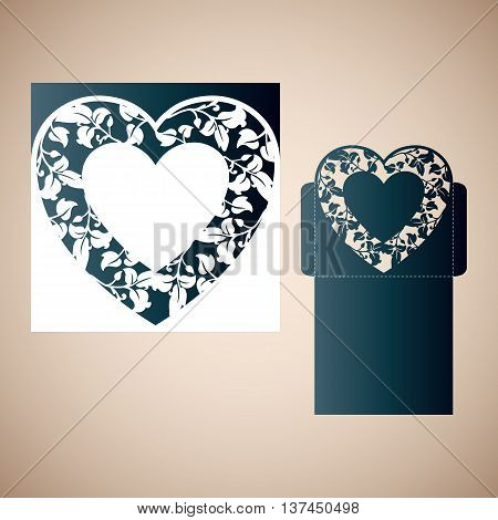 Openwork heart. Vector Laser cutting template for an envelope.