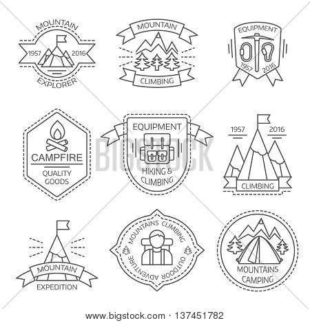 Mountain tourism monochrome linear labels with shields ribbons climbing equipment spruces campfire backpack isolated vector illustration