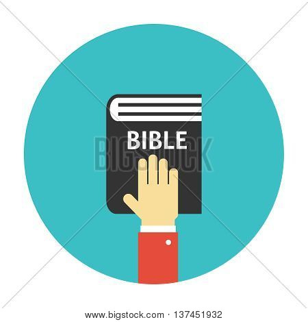 Hand on the Bible icon flat. Taking oath illustration