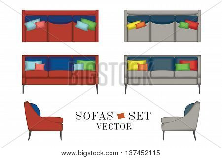 Sofas Set. Furniture for Your Interior Design. Vector Illustration. Top, Front and Side View. Scene Creator Set