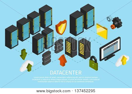 Isometric datacenter colored poster with lines about working mechanism inside and out vector illustration