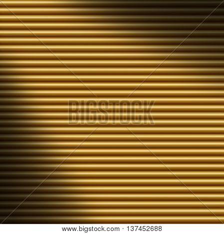Horizontal gold tube background texture lit diagonally