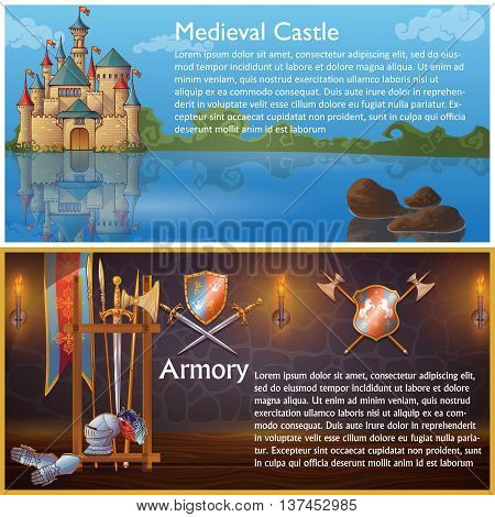 Attributes of knight compositions with medieval castle and heraldic signs on armour weapons shields isolated vector illustration