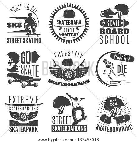 Skateboarding emblem or label set with descriptions of skate or die skateboard street contest freestyle skateboarding vector illustration
